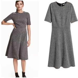 NWT H&M Black and White Textured Calf-Length Dress